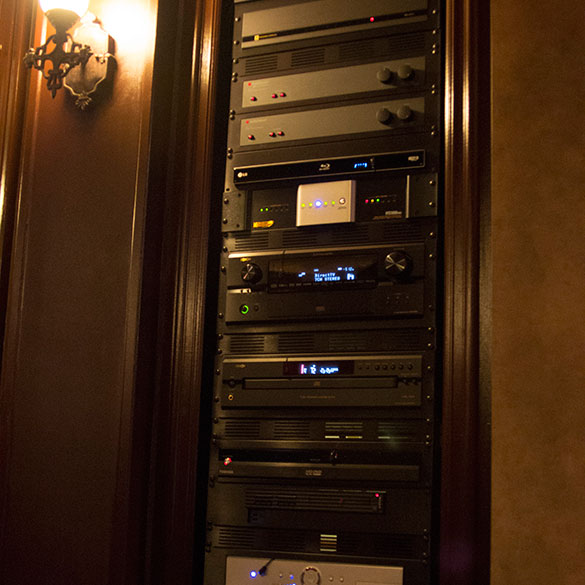 Home movie cinema equipment rack.