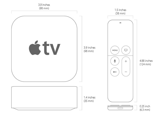 Apple TV  32GB Dimensions